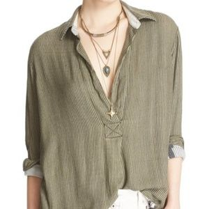 Free People On the Road Tunic Green Stripe Small